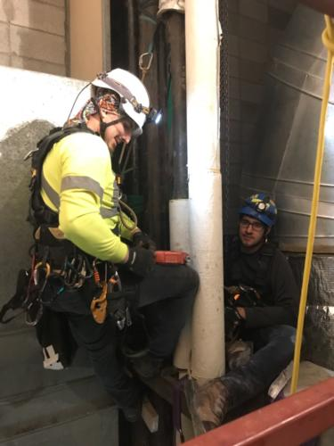 rope access tech does plumbing repairs